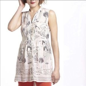 ANTHROPOLOGIE Scottish Winds Puffin Silk Tunic